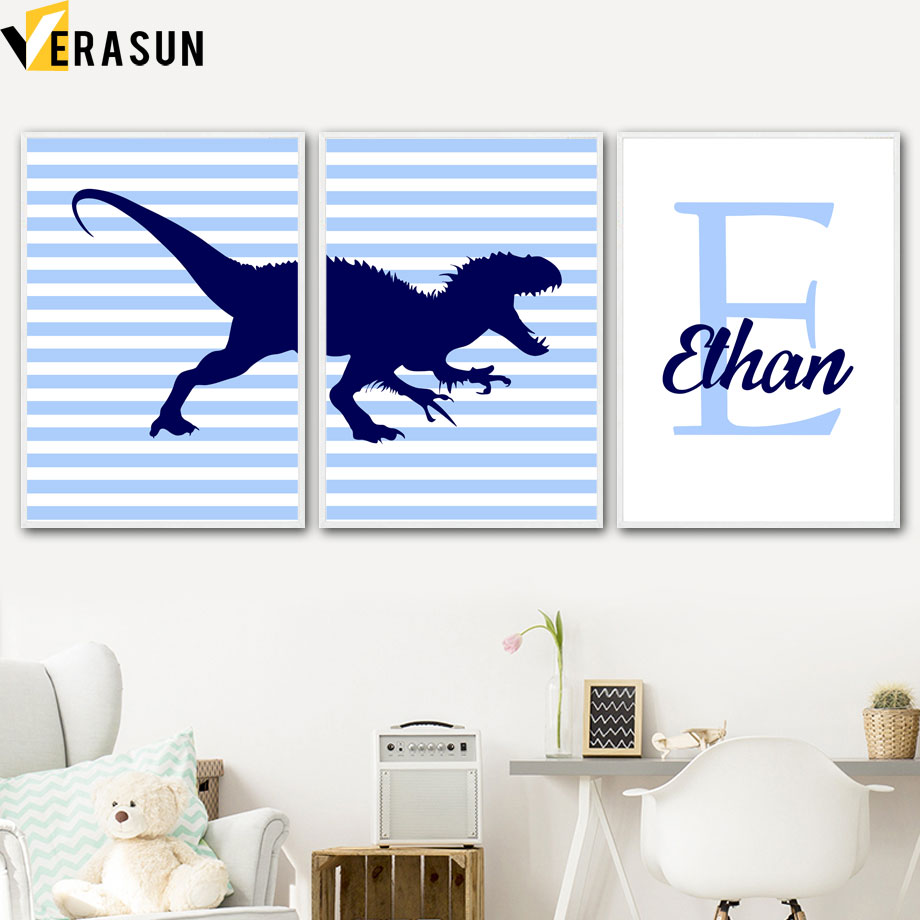 Us 3 0 50 Off Dinosaur Custom Baby Name Wall Art Canvas Painting Nordic Posters And Prints Nursery Pictures Boy Room Decor In