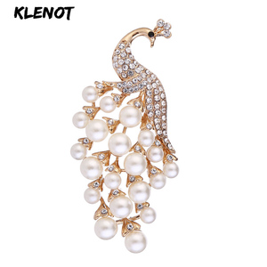 Elegant Pearl Peacock Bouquet Brooch Animal Peacock Brooch Pins Rhinestone Feather Brooches Women Wedding Bridal Party Jewelry