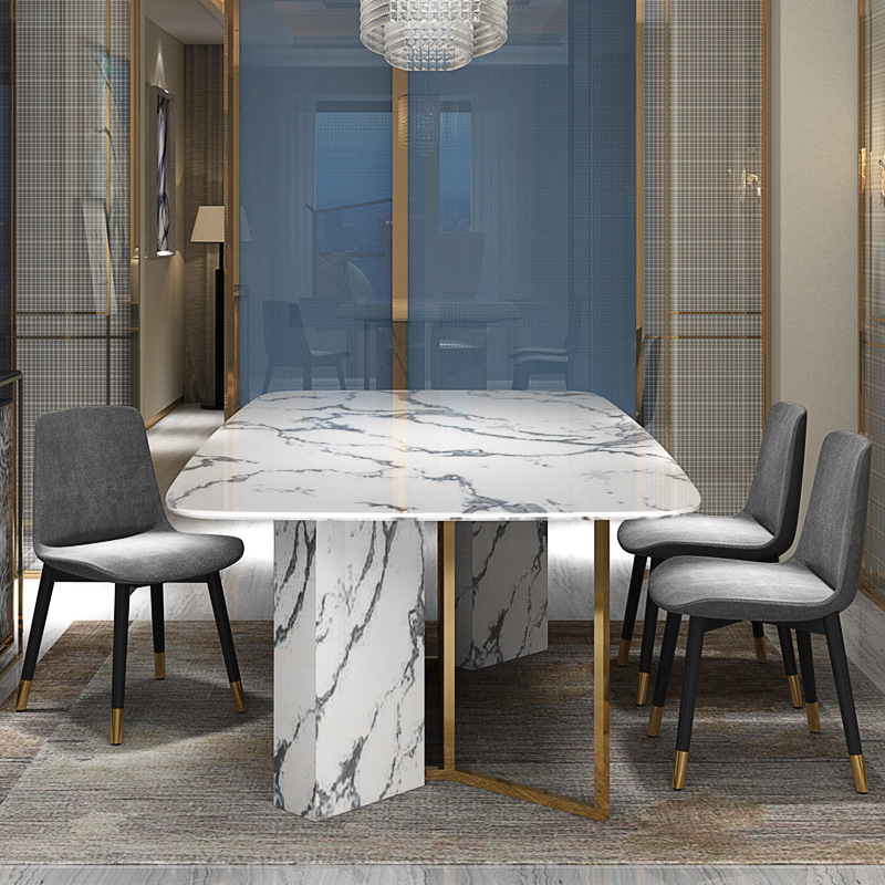 Post-modern light luxury marble dining table Gold-plated stainless steel dining table and chair rectangle table image