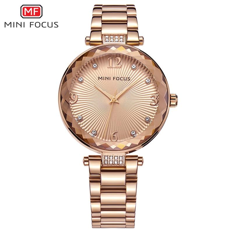 цены MINI FOCUS Ladies Watches Top Brand Luxury Rose Gold Quartz Women Fashion Watch 2018 Diamond Bracelet Jewelry Relogios Feminino