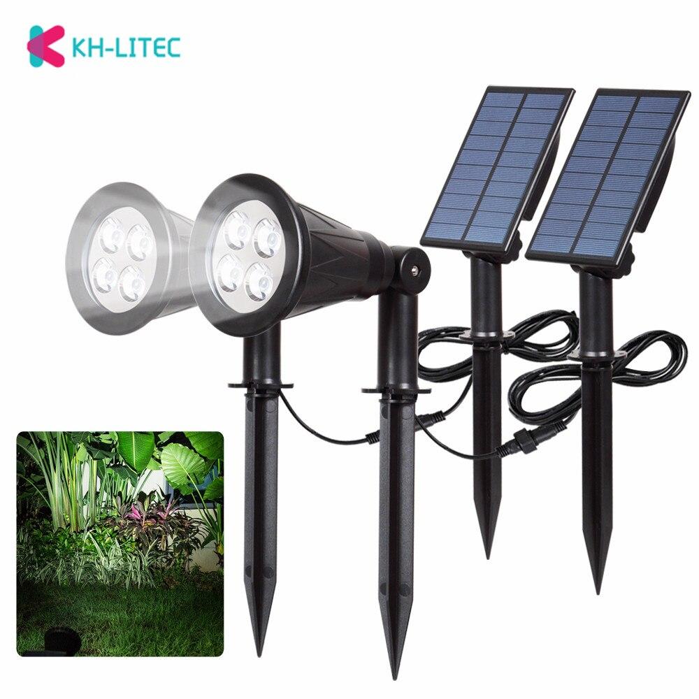 khlitec 2 pacote de seguranca solar focos led ao ar livre paisagem luzes solares para jardim