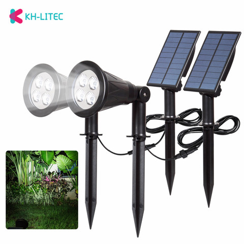 khlitec 2 pacote de seguranca solar focos led ao ar livre paisagem luzes solares para