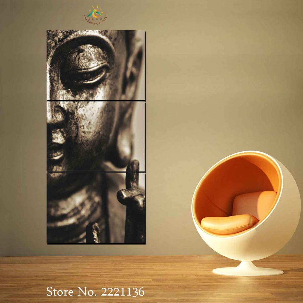 3 Pieces Black Copper Buddha Modern Wall Art Canvas Printed Painting ...