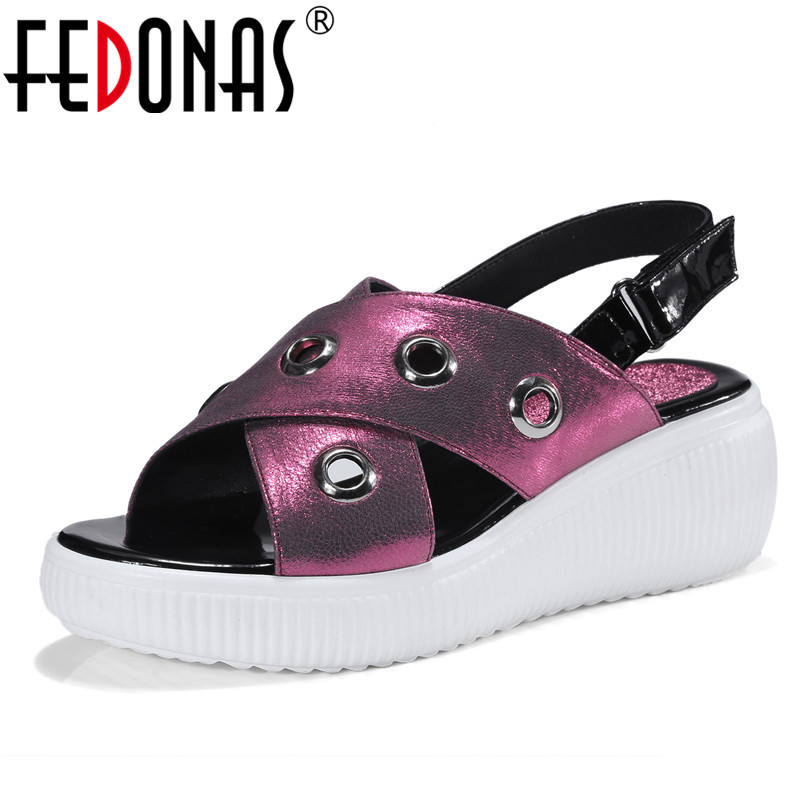 FEDONAS Sexy Sandals Fashion Gladiator Style Suede Wedges High Heel Women Sumer Shoes Woman Rivets Platforms Casual Sandals new women sandals low heel wedges summer casual single shoes woman sandal fashion soft sandals free shipping