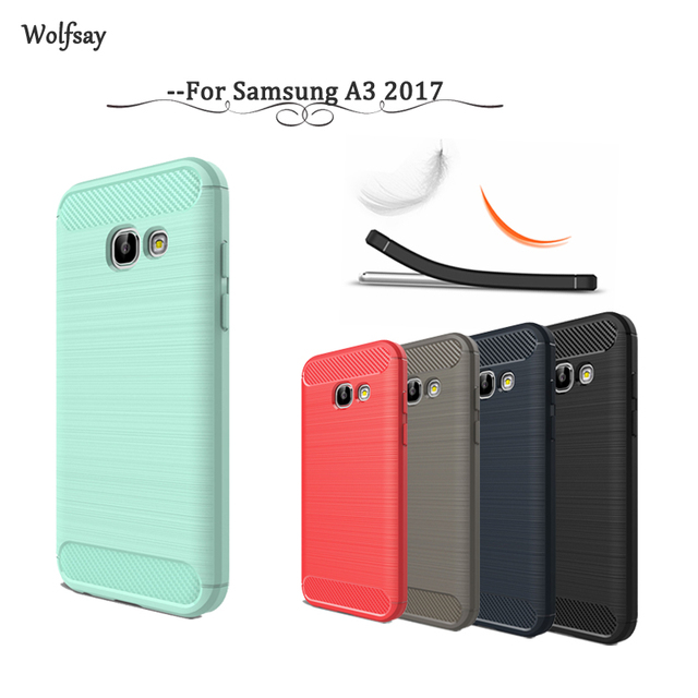 Wolfsay Case For Samsung Galaxy A3 2017 Cover Soft TPU Brush Rugged Case For Samsung Galaxy A3 2017 For Samsung A3 2017 A320