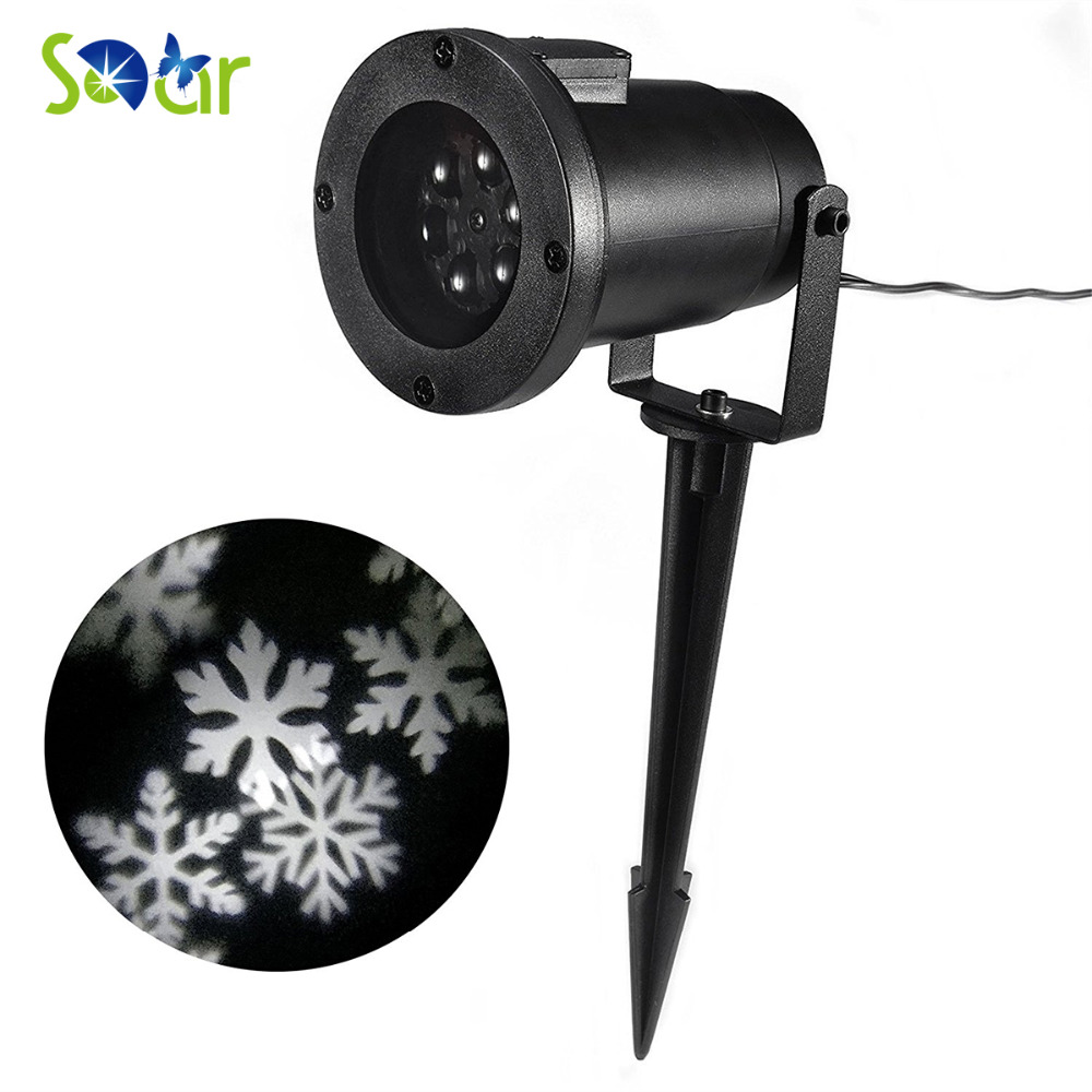 Moving Snowflakes Projector Light 4W White Spotlight Christmas Lamp LED Landscape Projector Light for Indoor/Outdoor Wall Roof tanbaby halloween christmas outdoor night snowflakes projector light decorations 12 slides led moving landscape spotlights