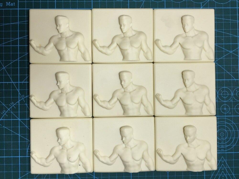 Moule en Silicone homme corps motif moules stronger man 9 trous moule en silicone pour la fabrication de savon À La Main savon moule résine argile moules
