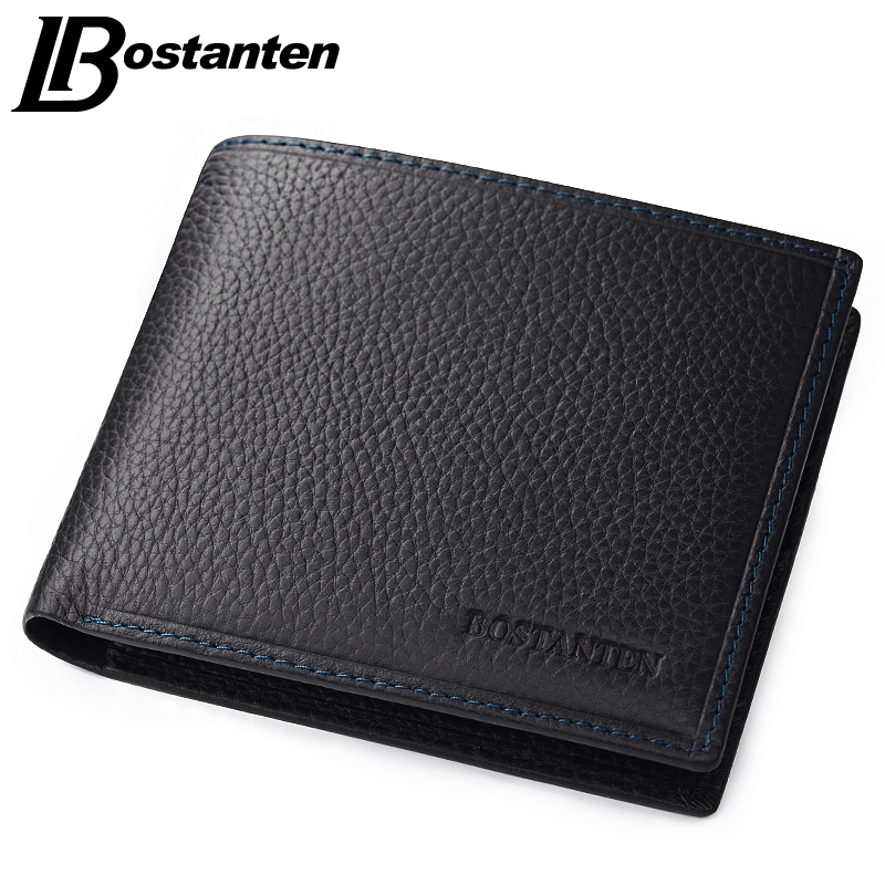 Bostanten 100% Genuine Leather Mens Wallets Luxury Men Wallets Purse Brand Wallet Black Card Holder Coin Business Bifold Wallet laser mark motorcycle modified muffler sc carbon fiber exhaust pipe for honda vtr1000f firestorm vtx1300 x 11 cb400 hornet