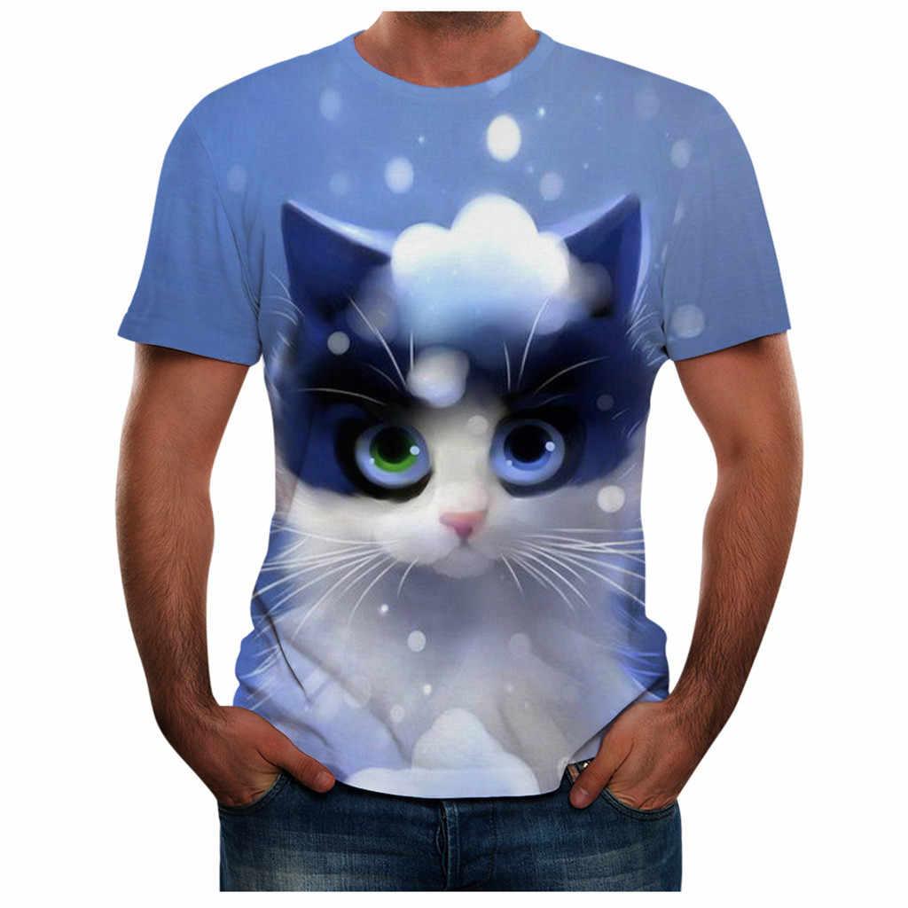 Feitong קיץ גברים של חולצת טי מקרית עגול צוואר 3D חתול הדפסת שרוול קצר חולצה פנאי למעלה mens t חולצות אופנה 2019 camisetas