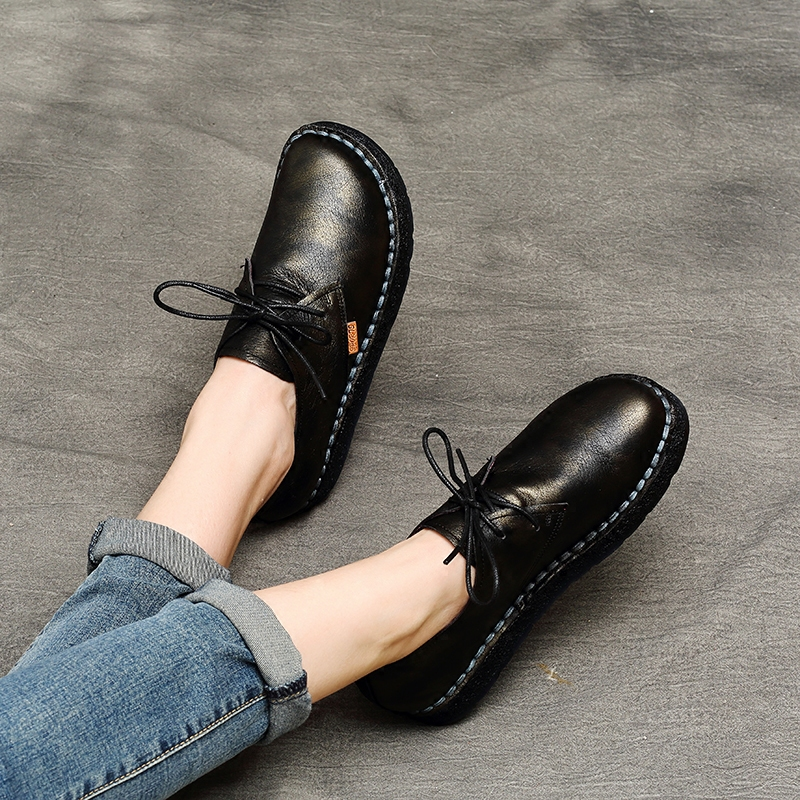 AFW Genuine Leather Women Flats Lace Up Low Heels Spring Shoes 2018 Retro Handmade Flat Soft Soles Casual Leather Women Shoes cresfimix zapatos women cute flat shoes lady spring and summer pu leather flats female casual soft comfortable slip on shoes
