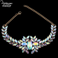 Dvacaman Brand 2016 New Style Wedding Party Flower Crystal Statement Jewelry Sexy Choker Necklace Women Accessory