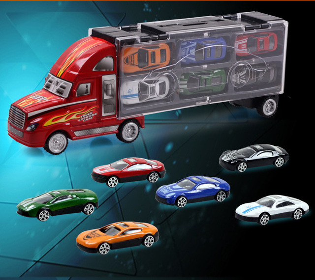 Christmas Gift For Children Cool Portable Container With 12 Alloy Cars  Trucks Model Car Storage Box