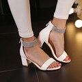 2016 mujeres del verano sandalias atractivas de los zapatos de cuero de la pu del gladiador sandalias Casual tacón cuadrado zapatos de fiesta talla 34-43