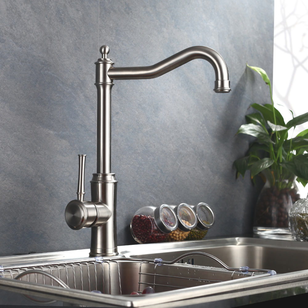 Brushed Nickle paints SUS 304 stainless steel Spool Mixer Water Faucet Kitchen Faucet Hot And Cold Double Control Tap цена