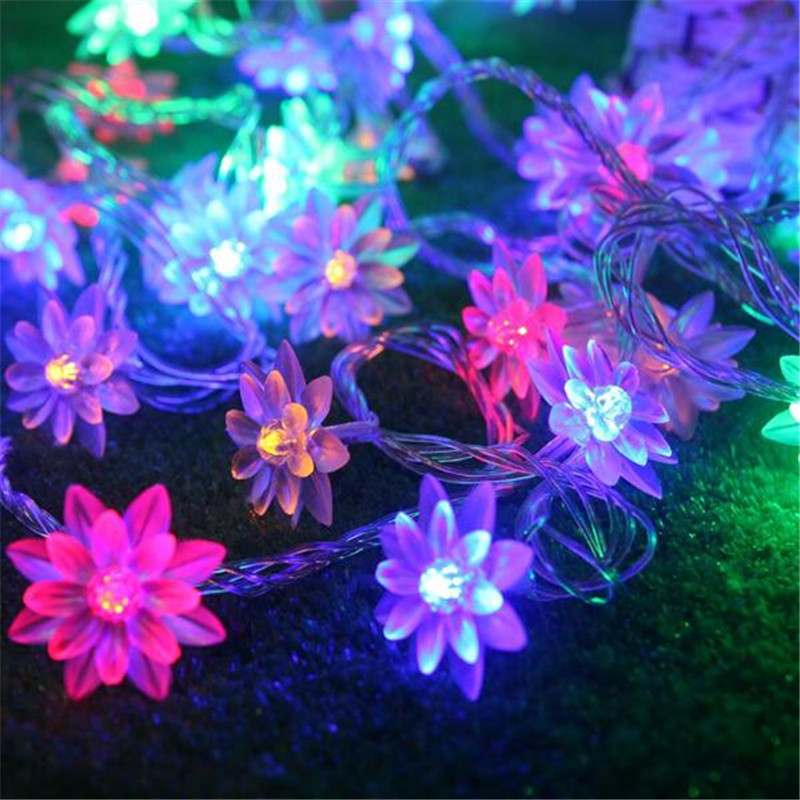4M 20LEDs 3 Colors Lotus LED String Lights Lover's Day Holiday Events Holidays Garland Decor. Flowers 110V 220V US EU UK AU 2018 3m 220v 20pcs car models night lamp kid children room decor paper string lighting holiday lights eu uk plug luminaria