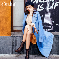 ARTKA New City Series Autumn Winter Woolen Coat 65% Wool Birds Plaid Off Shoulder Long Coat Blue Jacket JW17039