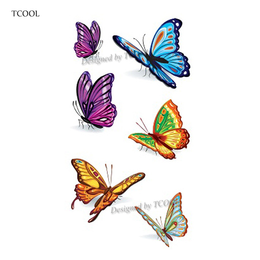 HXMAN Butterfly Women Temporary Tattoo Sticker Tattoos For Men Fashion Body Art Kids Children Hand Fake Tatoo 10.5X6cm A-078