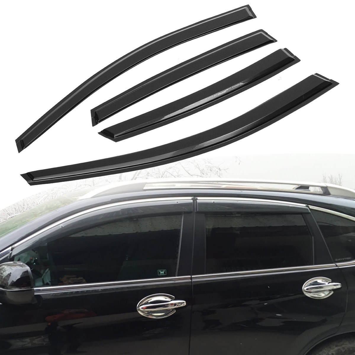 Car window visor rain sun guard vent shade set for honda crv 07 11