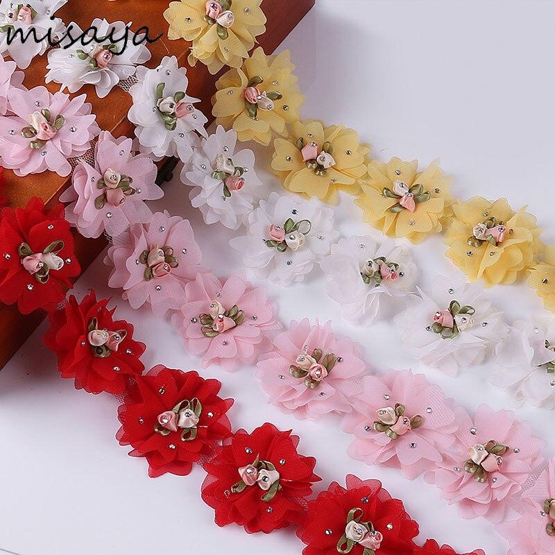 Misaya 3D шифон 1 ярд Кристалл цветочные бутоны кластера кружево украшения высокое качество ткань Аппликация Кружевное шитье поставки