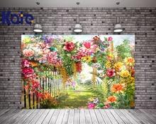 KATE 10ft 유럽 유화 풍경 배경 봄 정원 배경 꽃 녹색 잎 울타리 사진 자연주의 어린이 사진