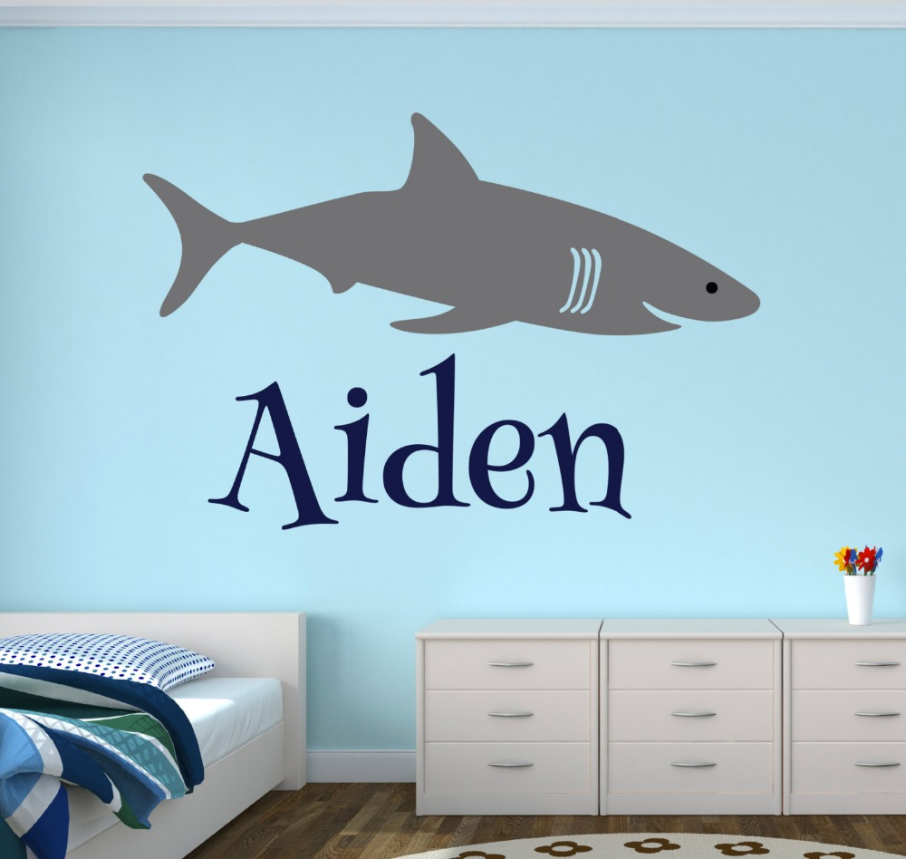 Personalized Shark Name Wall Decal - Boys Room Decal - Custom Name Baby Wall Decal-Vinyl Wall Stickers for Kids Room Mural