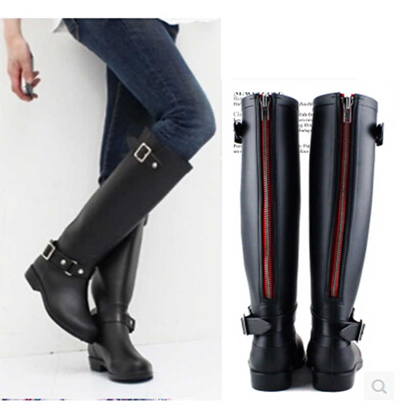e910d10da ... 2018 новые черные женские галоши резиновые сапоги для дождливой погоды  женские боты сзади красные молния боты