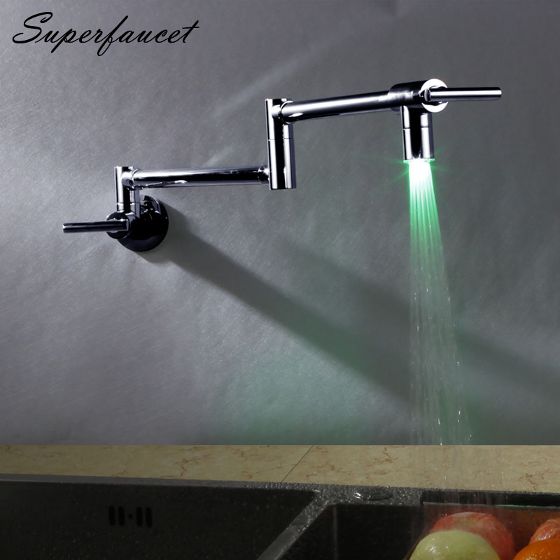 Superfaucet Kitchen Faucet Kitchen Mixer Brass Brushed Cold and Hot Kitchen Tap LED Kitchen Sink Faucet