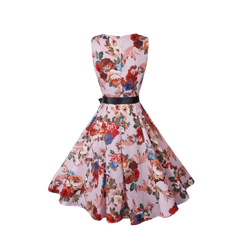 Women's Clothing Summer Dress Overalls For Women Girl Vintage Printing Bodycon Sleeveless Casual Prom Swing Dress 3july4