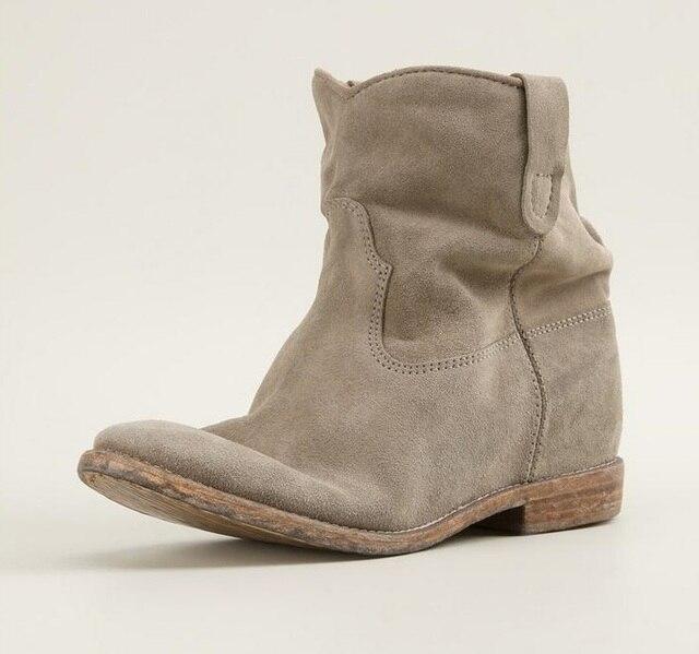 a7689f38094ef Najnowszy okrągłe Toe kliny kostki buty damskie botki z podwyższeniem zamszowe  skóra ukryty obcas buty Botas