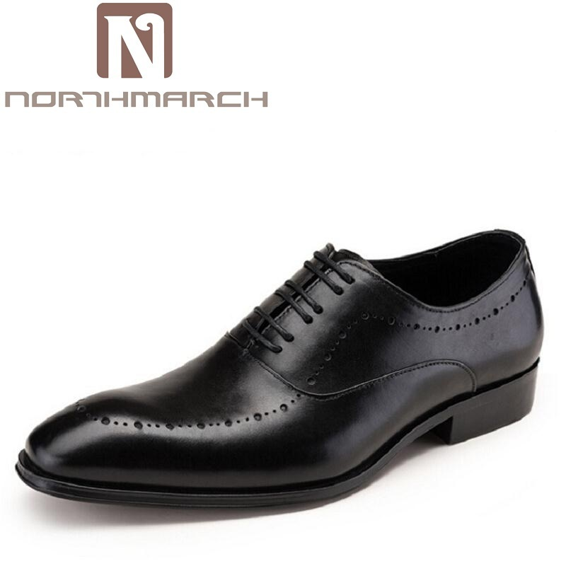 NORTHMARCH Comfortable Mens Lace Up Brogue Genuine Leather Formal Dress Shoes Black Office Party Wedding Shoe Sepatu Pria farvarwo brogue shoes mens dress genuine leather oxford black
