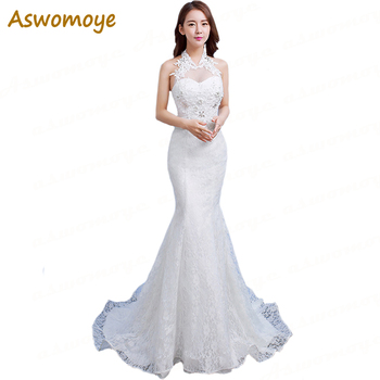 2018 New Fashion Mermaid Wedding Dress Sexy Halter Sleeveless Beaded Wedding Gowns Sweep Train Custom Made vestidos de noiva Wedding Dresses