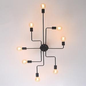 Image 5 - Multiple Rod metal chandelier Vintage Iron Ceiling Lamp Edison E27 Bulb Lamparas for Home Lighting Fixture Nordic Kitchen island