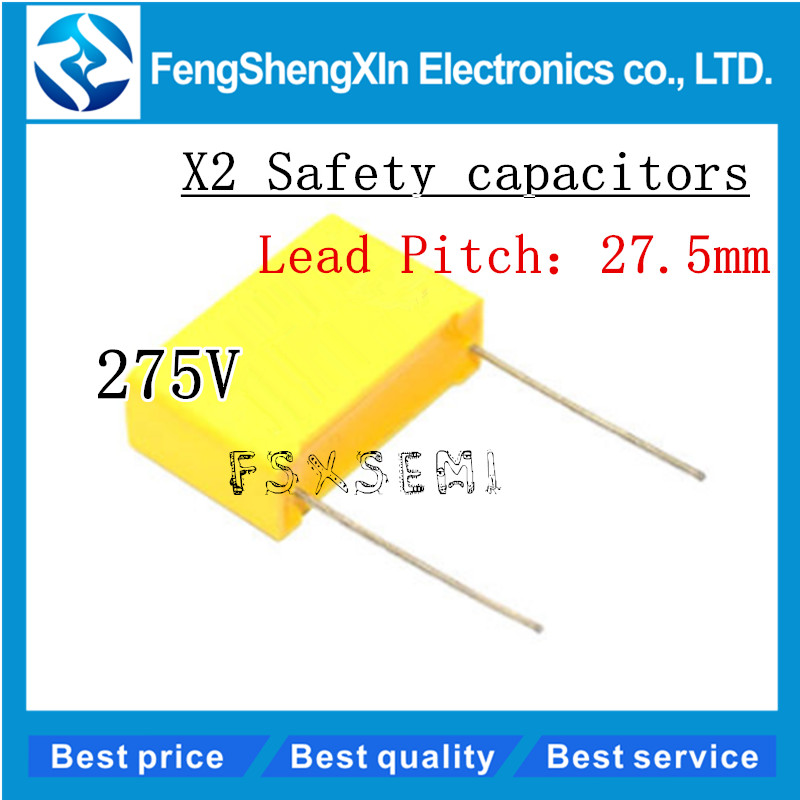 10pcs/lot X2 Safety Capacitors 27.5mm 275VAC 275V 1.2uf 2uf 2.2uf 3.3uf 1.5uf 1uf Polypropylene Film Capacitor  X2 Capacitor
