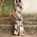 Original do vintage floral dress mulheres lençóis de algodão longos vestidos de manga 3/4 retro étnica vestido longo festa longues robe bayan elbise