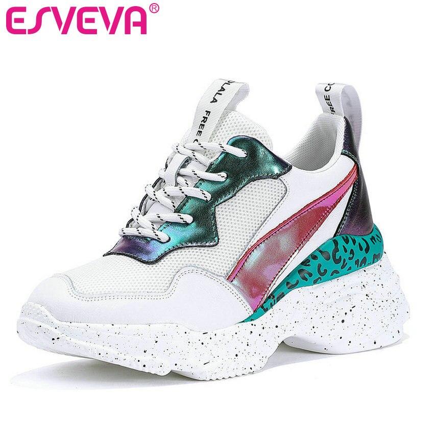 ESVEVA 2019 baskets femmes chaussures plate-forme maille PU + cuir bout pointu à lacets Wedge talon haut respirant chaussure d'été taille 35-39
