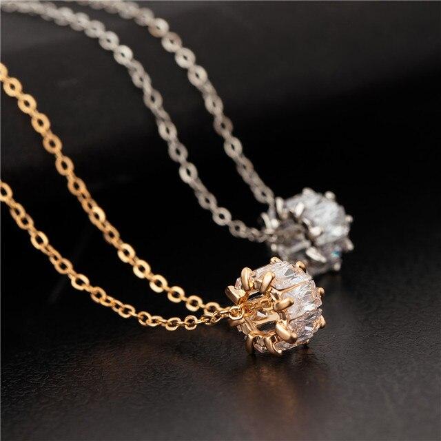 CZ Necklace Set Women Crystal Round Pendant Lucky Wheel Necklace Gold  Silver Colors Bijoux Collier Elegant 50eb9ba82b9a