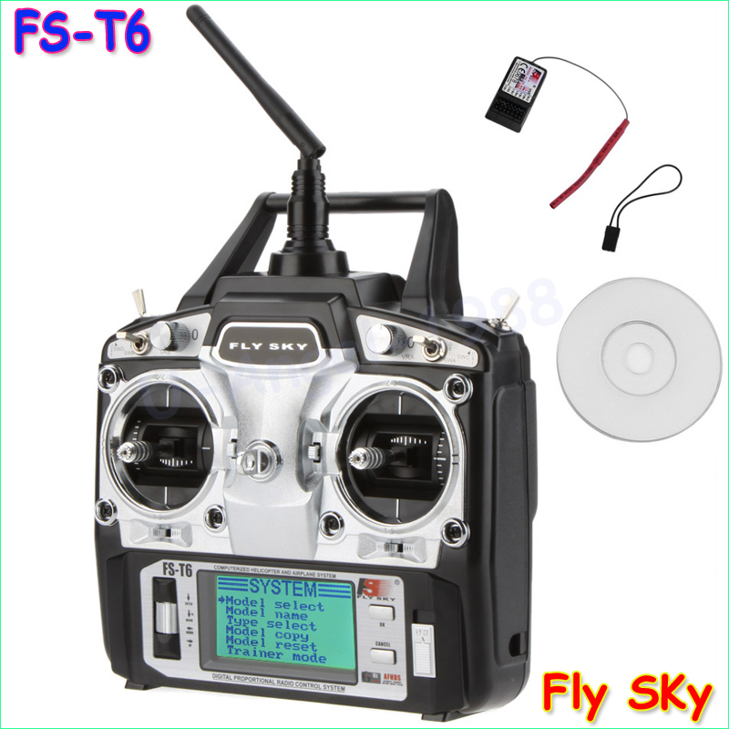 Original Flysky FS-T6 2.4GHz 6CH Mode 2 Transmitter and Receiver R6-B for RC Quadcopter Helicopter With LED Screen Mode 1 Mode 2 wholesale 2pcs lot flysky fs i6 2 4g 6ch transmitter and receiver system lcd screen for rc helicopter quadcopter drone vs fs t6