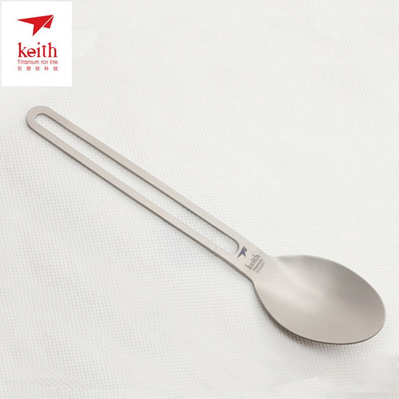 Keith Camping Cutlery Titanium Spoon For Outdoor And Camping Hiking Picnic Tableware Dinner Spoon Ultralight 17g Ti5313