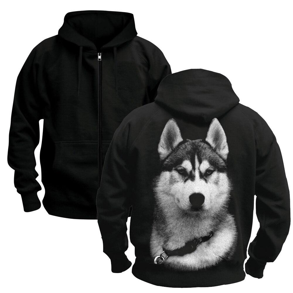 Sanglier Animal de compagnie sibérien Husky chiens loup imprimé sweat hiver pull hommes Hoodies taille asiatique