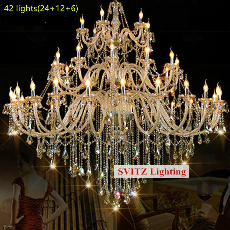 32-42 pcs Large hotel hanging crystal chandelier lighting for church castle Antique cognac crystal chandelier E14 LED lamparas