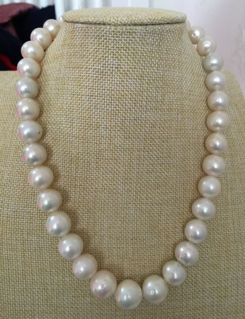 elegan huge 12-14mm freshwater white pearl necklace 18inch 925silverelegan huge 12-14mm freshwater white pearl necklace 18inch 925silver
