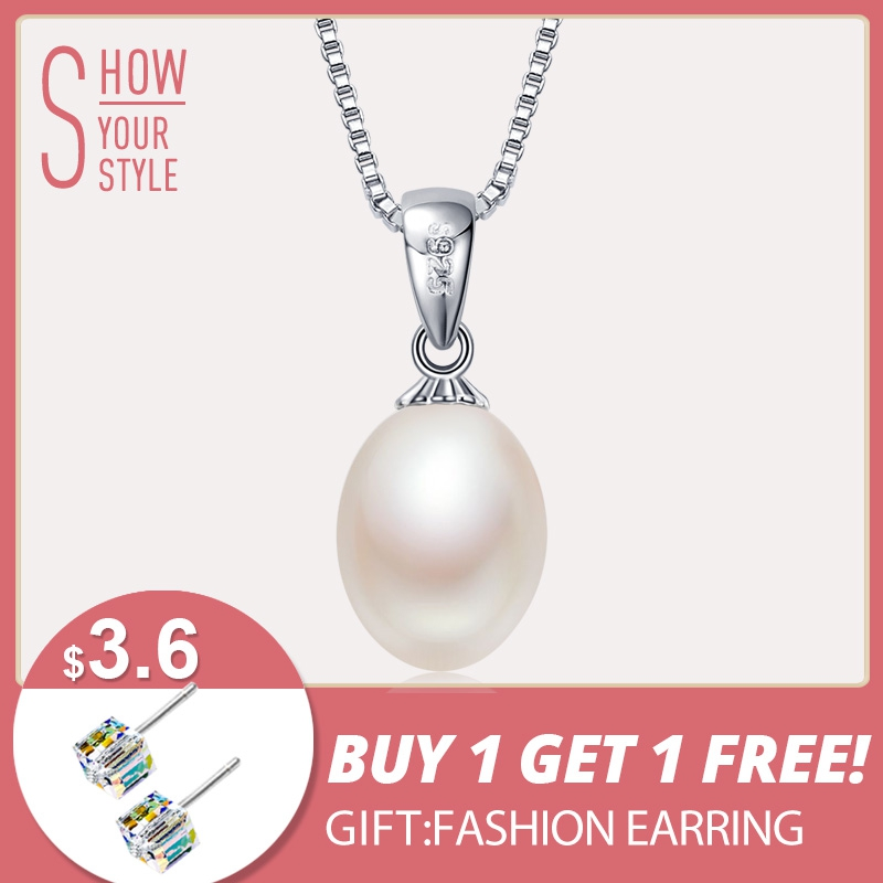 925 sterling silver necklace pendant for women genuine 100% Natural freshwater pearl jewelry 8-9mm wholesale price 5 colors gift925 sterling silver necklace pendant for women genuine 100% Natural freshwater pearl jewelry 8-9mm wholesale price 5 colors gift