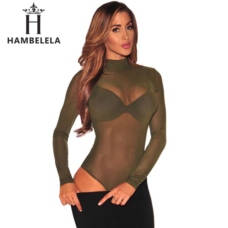 HAMBELELA New Transparent Bodysuit Women Rompers Bodycon Jumpsuit Long  Sleeve Mesh Bodysuit Sheer Through Trutleneck Bodysuits 49cdb8a65330