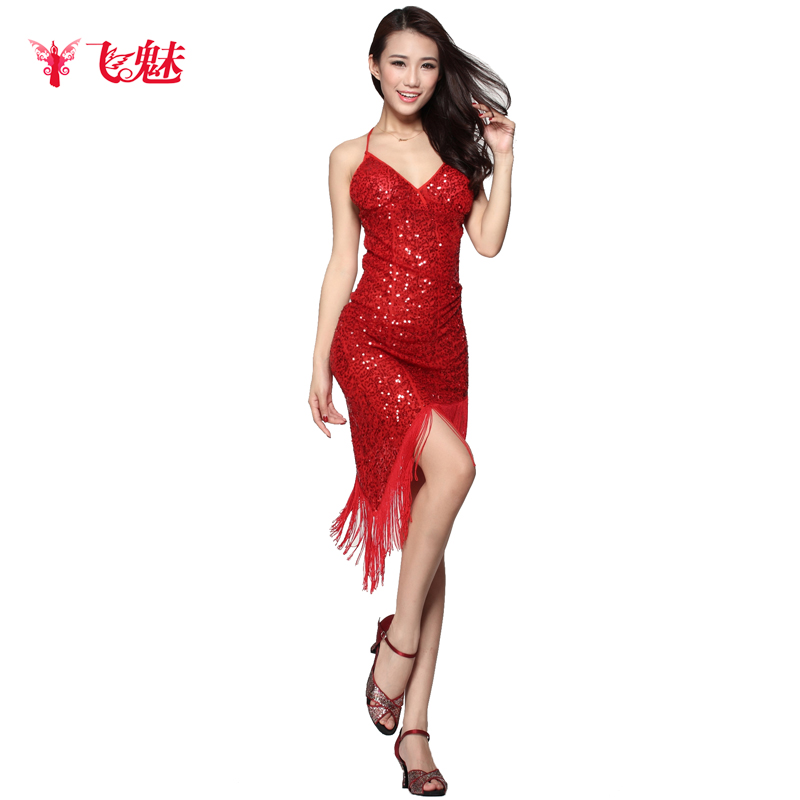 29da3bd6e326 On Sale custom customize Latin salsa tango rumba Cha cha Ballroom Dance  Dress skirt square dance red black blue tassel leotard