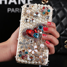 Diamond bling crystal hard case for iphone 6 4 7 iphone6 plus 5 5 with pearl