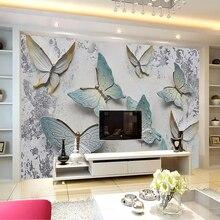 Custom 3D Wallpaper Murals Butterfly Stereoscopic Embossed