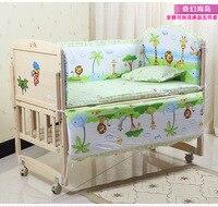 Promotion! 6PCS bedding baby boy kit piece set baby bedding kit 100% cotton crib quilt (3bumper+matress+pillow+duvet)