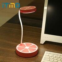 Itimo ledデスクランプ子供ブック読書ライトusb充電式目の保護オレンジ形3モードテーブルランプ調節可能