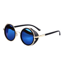 Fashion Mirror Lens Round Glasses Cyber Goggles Steampunk Sunglasses Vintage Retro Free shipping & wholesales