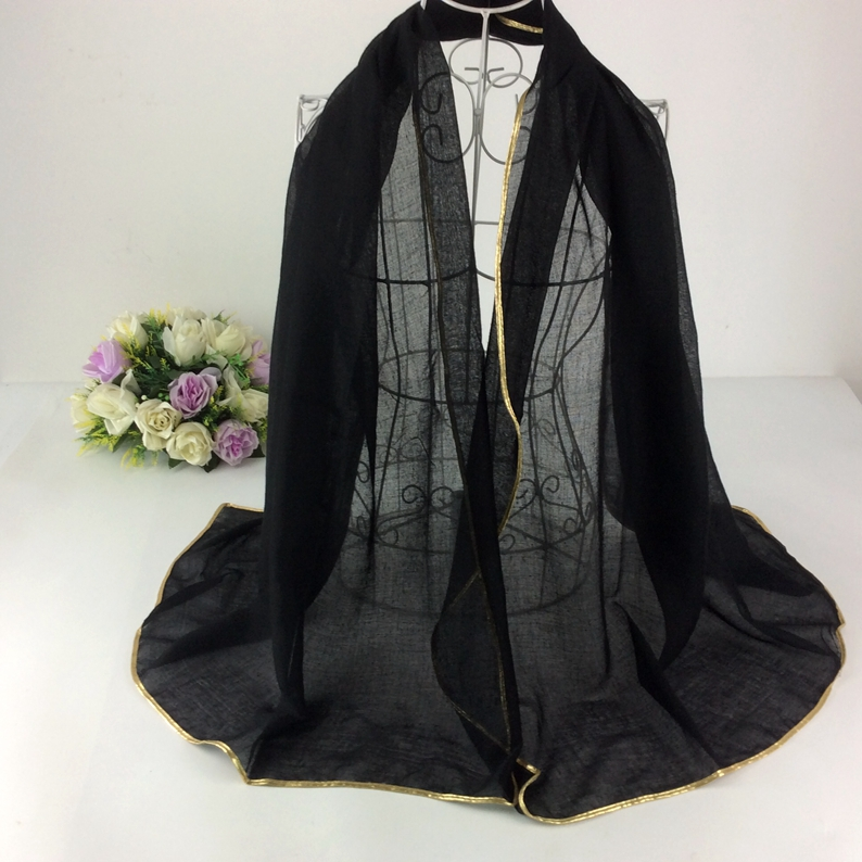Solid Plain Golden Border Shawl   Scarves   And Stoles Muslim Head   Scarf   Hijab Viscose Long Women   Scarf     wraps   shawls cape muffler